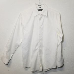 KENNETH COLE Wht Slim Dress Shirt Medium